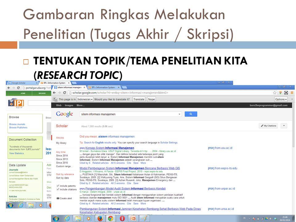 Gambaran Ringkas Melakukan Penelitian (Tugas Akhir / Skripsi) TENTUKAN MASALAH PENELITIAN KITA (RESEARCH PROBLEMS) Bagaimana cara menentukan masalah penelitian .