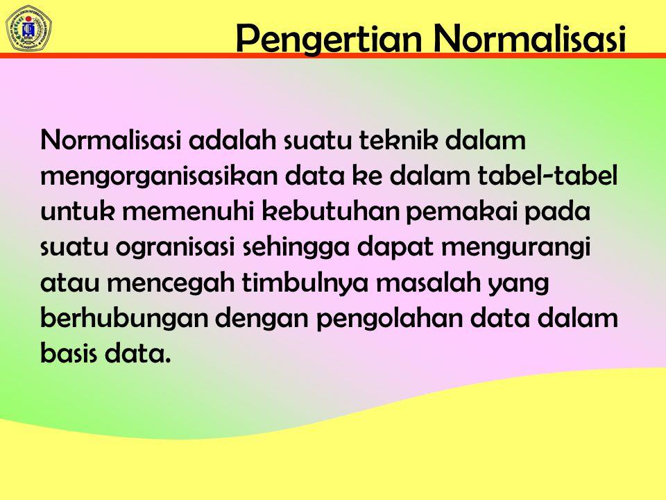Pengertian Normalisasi Normalisasi adalah suatu teknik dalam mengorganisasikan data ke dalam tabel-tabel untuk memenuhi kebutuhan pemakai pada suatu ogranisasi sehingga dapat mengurangi atau mencegah timbulnya masalah yang berhubungan dengan pengolahan data dalam basis data.