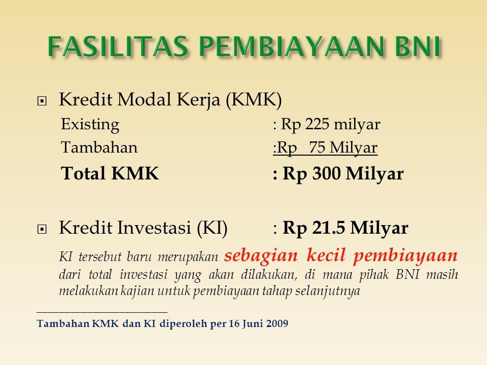  Kredit Modal Kerja (KMK) Existing : Rp 225 milyar Tambahan :Rp 75 Milyar Total KMK: Rp 300 Milyar  Kredit Investasi (KI): Rp 21.5 Milyar KI tersebu
