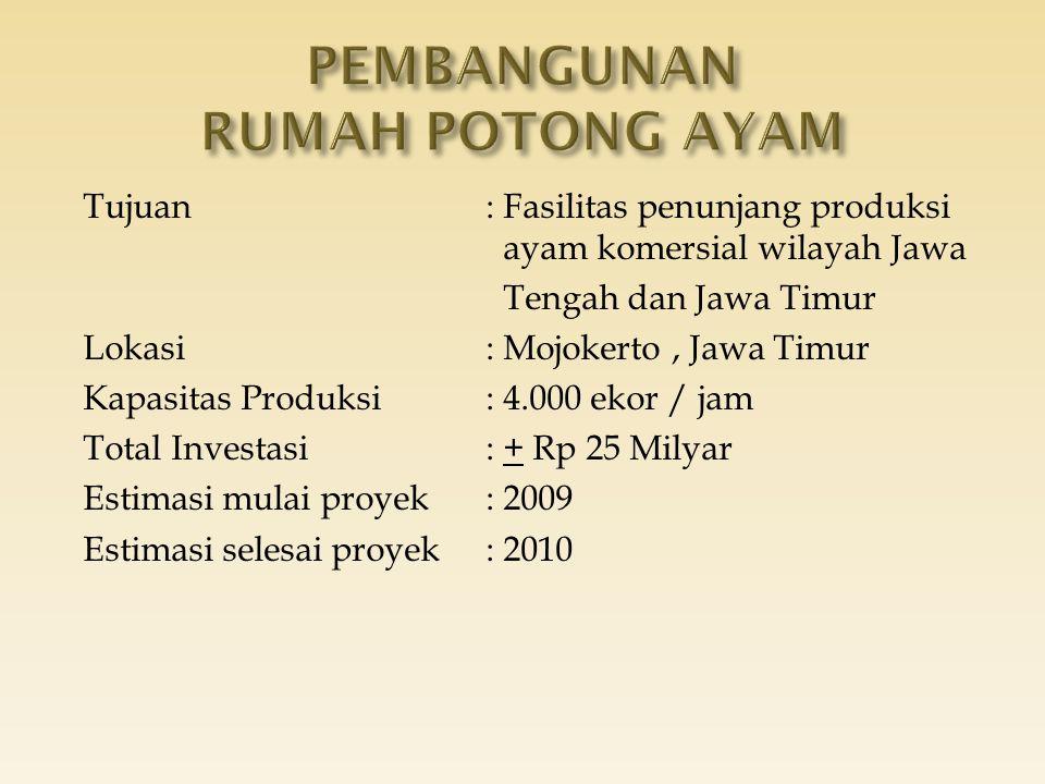 Tujuan: Fasilitas penunjang produksi ayam komersial wilayah Jawa Tengah dan Jawa Timur Lokasi: Mojokerto, Jawa Timur Kapasitas Produksi: 4.000 ekor /