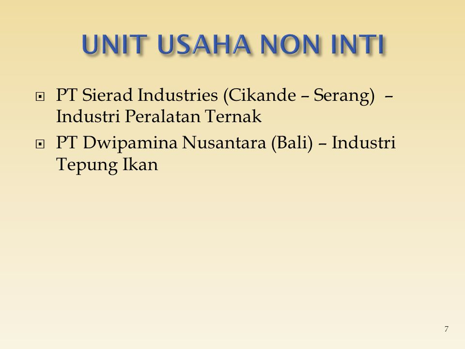  PT Sierad Industries (Cikande – Serang) – Industri Peralatan Ternak  PT Dwipamina Nusantara (Bali) – Industri Tepung Ikan 7