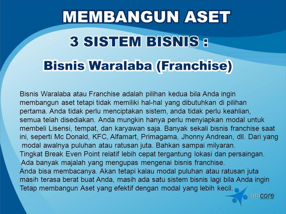 Bisnis Waralaba atau Franchise adalah pilihan kedua bila Anda ingin membangun aset tetapi tidak memiliki hal-hal yang dibutuhkan di pilihan pertama.