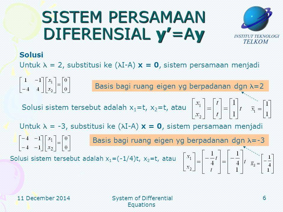 11 December 2014 System of Differential Equations 7 SISTEM PERSAMAAN DIFERENSIAL y'=Ay Solusi (lanjutan) Bentuk matriks P (matriks yang mendiagonalkan A) yaitu Solusi dari u'=Du adalah Solusi umum dari sistem persamaan diferensial adalah dan y = Pu