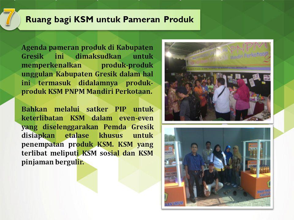 Ruang bagi KSM untuk Pameran Produk Agenda pameran produk di Kabupaten Gresik ini dimaksudkan untuk memperkenalkan produk-produk unggulan Kabupaten Gr