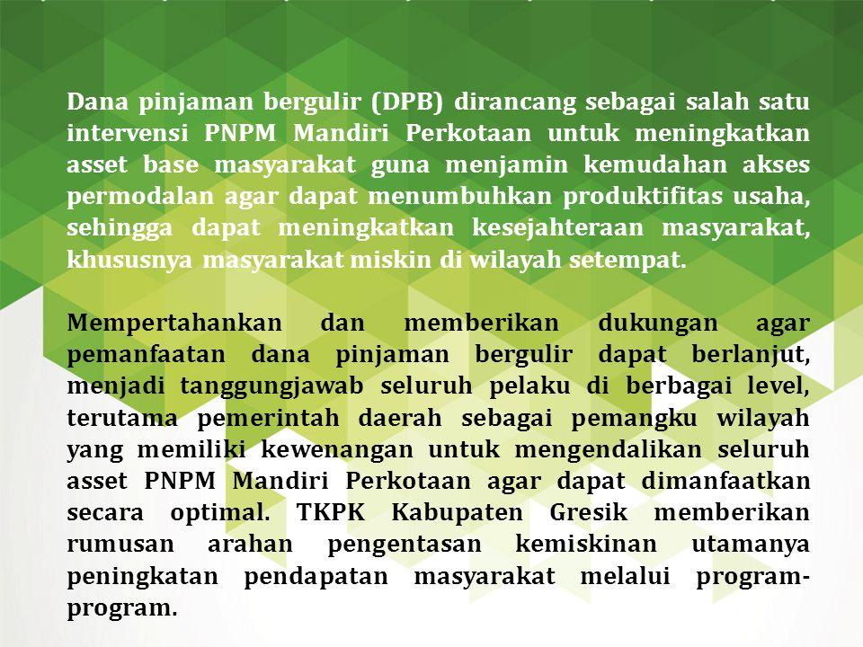 Dana pinjaman bergulir (DPB) dirancang sebagai salah satu intervensi PNPM Mandiri Perkotaan untuk meningkatkan asset base masyarakat guna menjamin kem