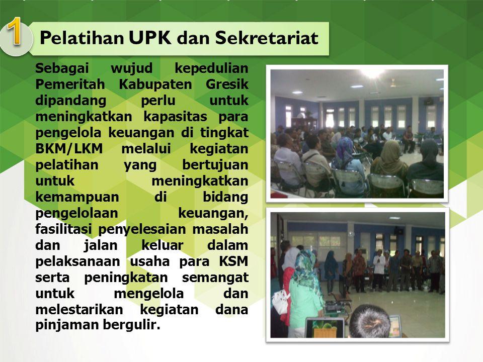 Pelatihan UPK dan Sekretariat Sebagai wujud kepedulian Pemeritah Kabupaten Gresik dipandang perlu untuk meningkatkan kapasitas para pengelola keuangan