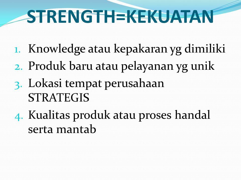 STRENGTH=KEKUATAN 1. Knowledge atau kepakaran yg dimiliki 2. Produk baru atau pelayanan yg unik 3. Lokasi tempat perusahaan STRATEGIS 4. Kualitas prod