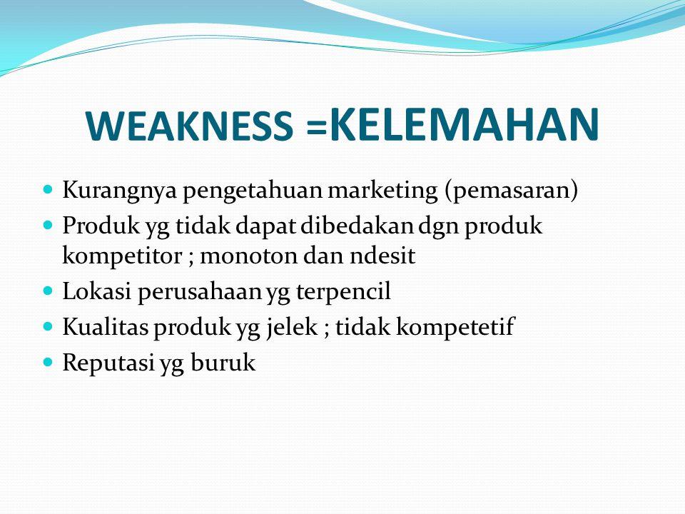 WEAKNESS = KELEMAHAN Kurangnya pengetahuan marketing (pemasaran) Produk yg tidak dapat dibedakan dgn produk kompetitor ; monoton dan ndesit Lokasi per