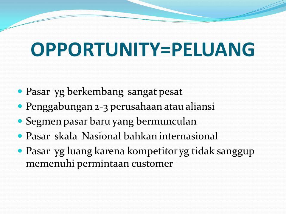 OPPORTUNITY=PELUANG Pasar yg berkembang sangat pesat Penggabungan 2-3 perusahaan atau aliansi Segmen pasar baru yang bermunculan Pasar skala Nasional