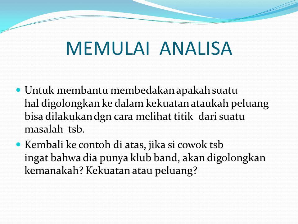 MEMULAI ANALISA Untuk membantu membedakan apakah suatu hal digolongkan ke dalam kekuatan ataukah peluang bisa dilakukan dgn cara melihat titik dari su