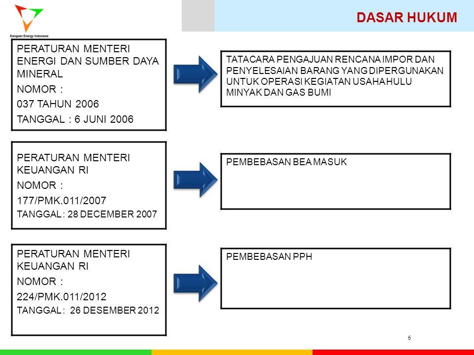 DASAR HUKUM 6 PERATURAN MENTERI KEUANGAN RI NOMOR : 177/PMK.011/2007 TANGGAL : 28 DECEMBER 2007 PERATURAN MENTERI ENERGI DAN SUMBER DAYA MINERAL NOMOR : 037 TAHUN 2006 TANGGAL : 6 JUNI 2006 PEMBEBASAN BEA MASUK TATACARA PENGAJUAN RENCANA IMPOR DAN PENYELESAIAN BARANG YANG DIPERGUNAKAN UNTUK OPERASI KEGIATAN USAHA HULU MINYAK DAN GAS BUMI PERATURAN MENTERI KEUANGAN RI NOMOR : 224/PMK.011/2012 TANGGAL : 26 DESEMBER 2012 PEMBEBASAN PPH
