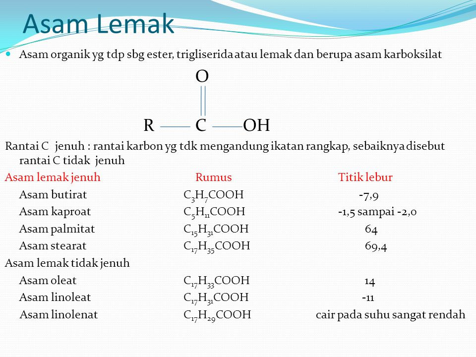 Asam Lemak Asam organik yg tdp sbg ester, trigliserida atau lemak dan berupa asam karboksilat O RCOH Rantai C jenuh : rantai karbon yg tdk mengandung