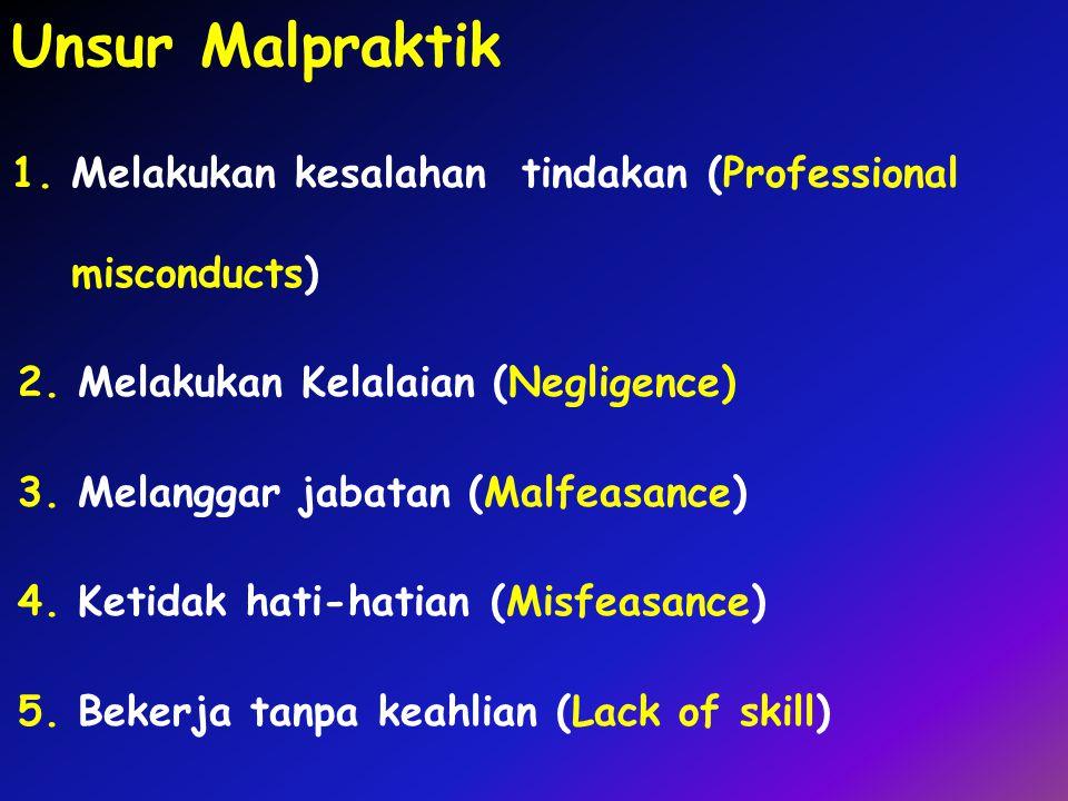 Unsur Malpraktik 1.Melakukan kesalahan tindakan (Professional misconducts) 2.Melakukan Kelalaian (Negligence) 3.Melanggar jabatan (Malfeasance) 4.Keti