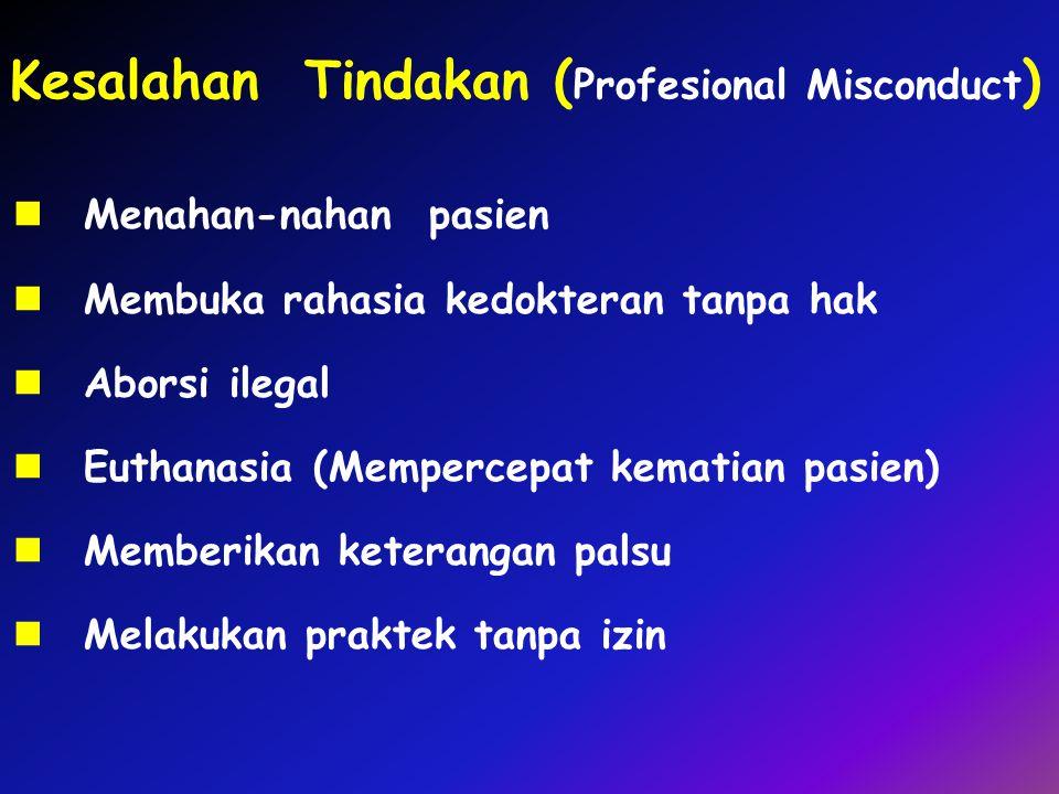 Kesalahan Tindakan ( Profesional Misconduct ) Menahan-nahan pasien Membuka rahasia kedokteran tanpa hak Aborsi ilegal Euthanasia (Mempercepat kematian