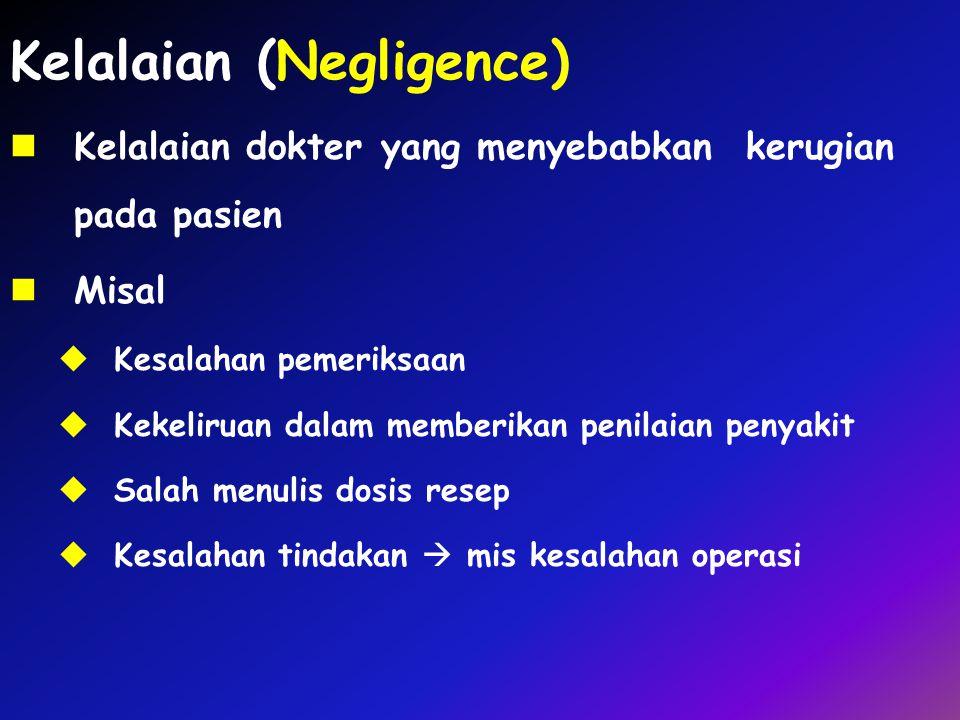 Kelalaian (Negligence) Kelalaian dokter yang menyebabkan kerugian pada pasien Misal  Kesalahan pemeriksaan  Kekeliruan dalam memberikan penilaian pe