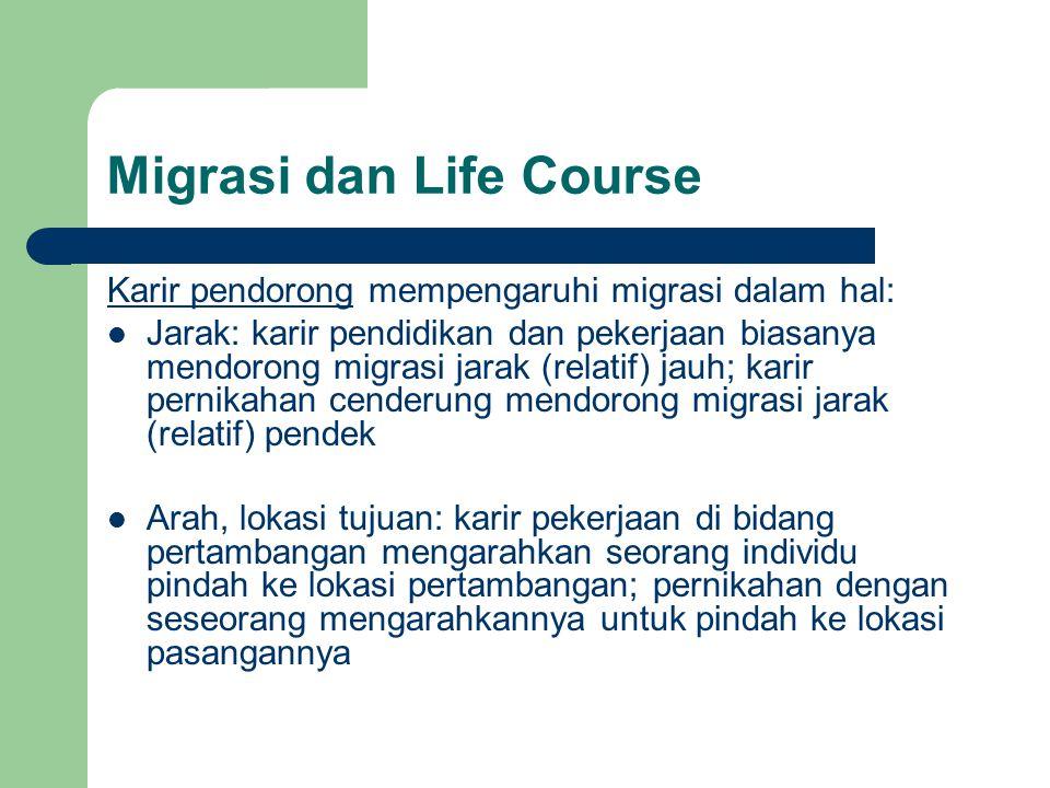 Migrasi dan Life Course Karir pendorong mempengaruhi migrasi dalam hal: Jarak: karir pendidikan dan pekerjaan biasanya mendorong migrasi jarak (relati