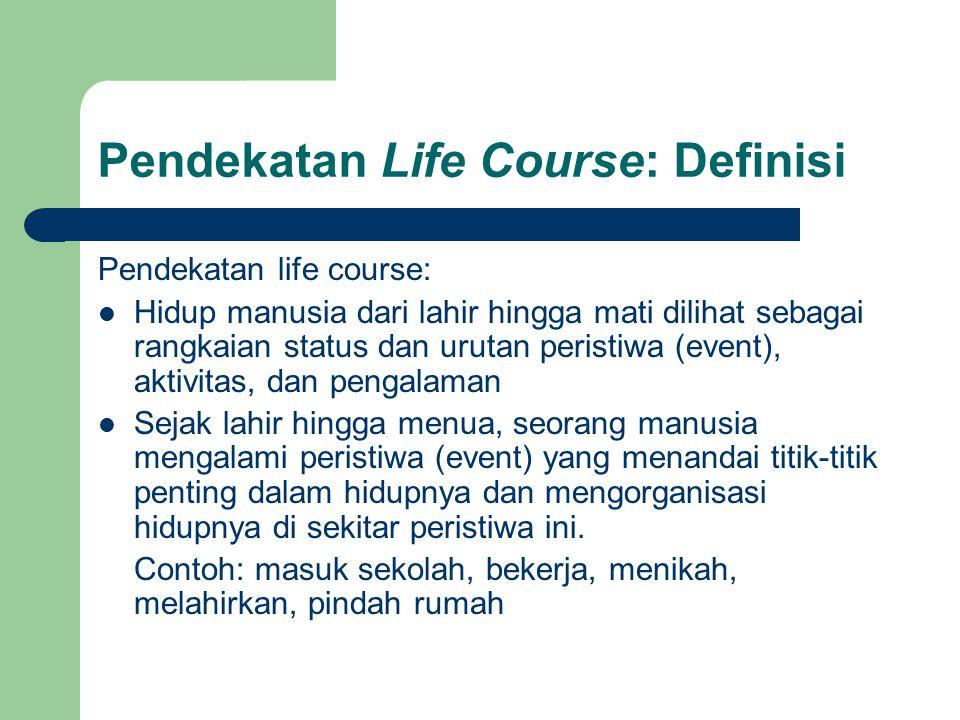 Pendekatan Life Course: Definisi Pendekatan life course: Manusia hidup di dalam konteks sejarah, politik, ekonomi, sosial, dan budaya Maka: manusia mengorganisasikan hidupnya berdasarkan munculnya peristiwa (event) dan berdasarkan konteks hidupnya  Mengkombinasikan makro dan mikro, konteks dan individu