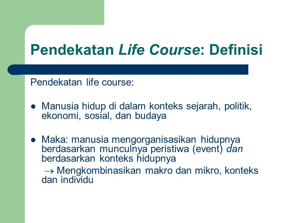 Pendekatan Life Course: Definisi Pendekatan life course: Manusia hidup di dalam konteks sejarah, politik, ekonomi, sosial, dan budaya Maka: manusia me