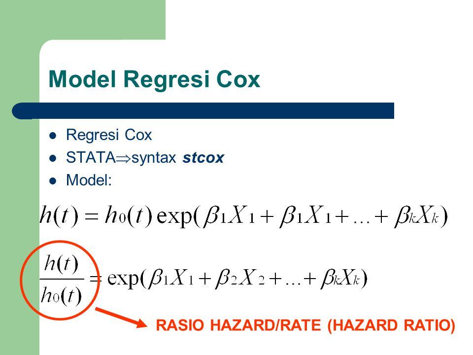 Model Regresi Cox Regresi Cox STATA  syntax stcox Model: RASIO HAZARD/RATE (HAZARD RATIO)