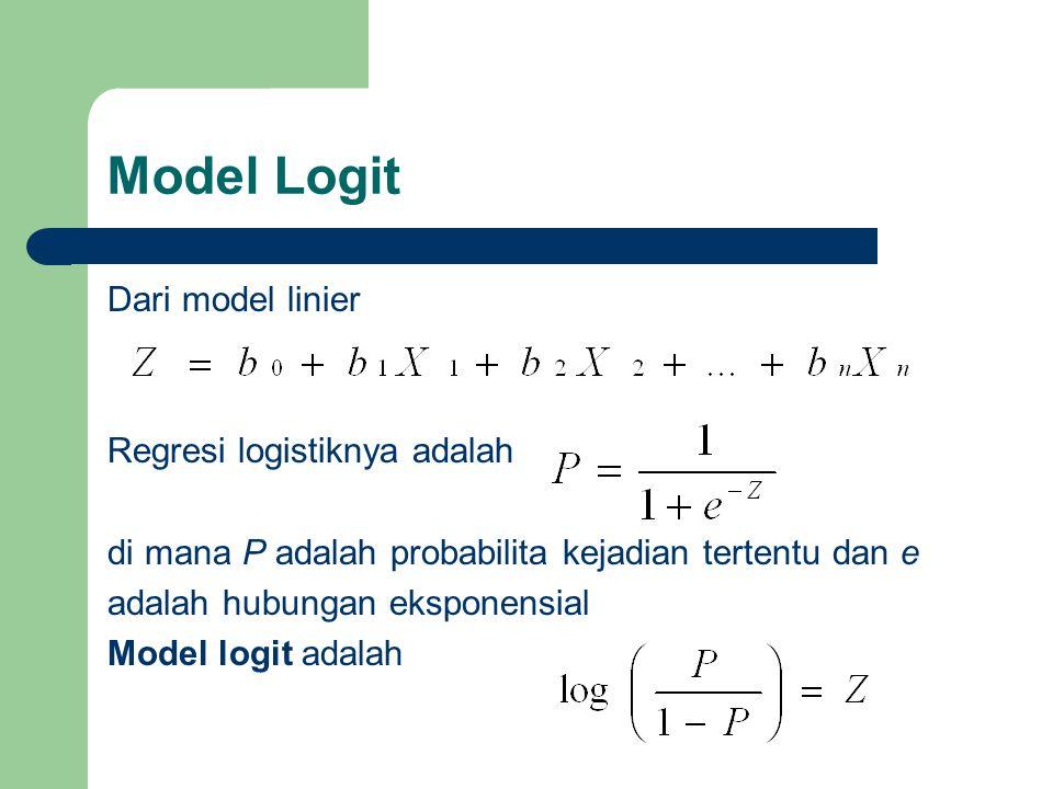 Model Logit Dari model linier Regresi logistiknya adalah di mana P adalah probabilita kejadian tertentu dan e adalah hubungan eksponensial Model logit