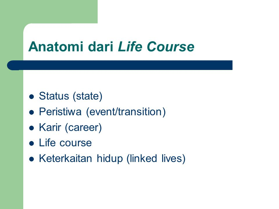 Anatomi dari Life Course Status (state) Peristiwa (event/transition) Karir (career) Life course Keterkaitan hidup (linked lives)