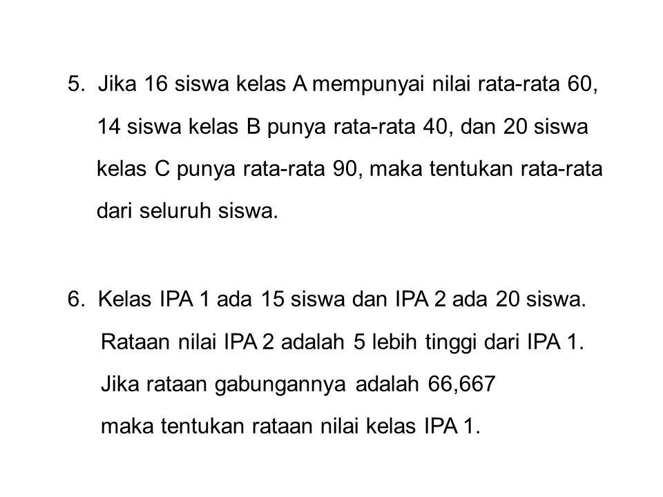 7.Tes Fisika diberikan kepada tiga kelas. Rataan nilai kelas A dan B adalah 78 dan 75.