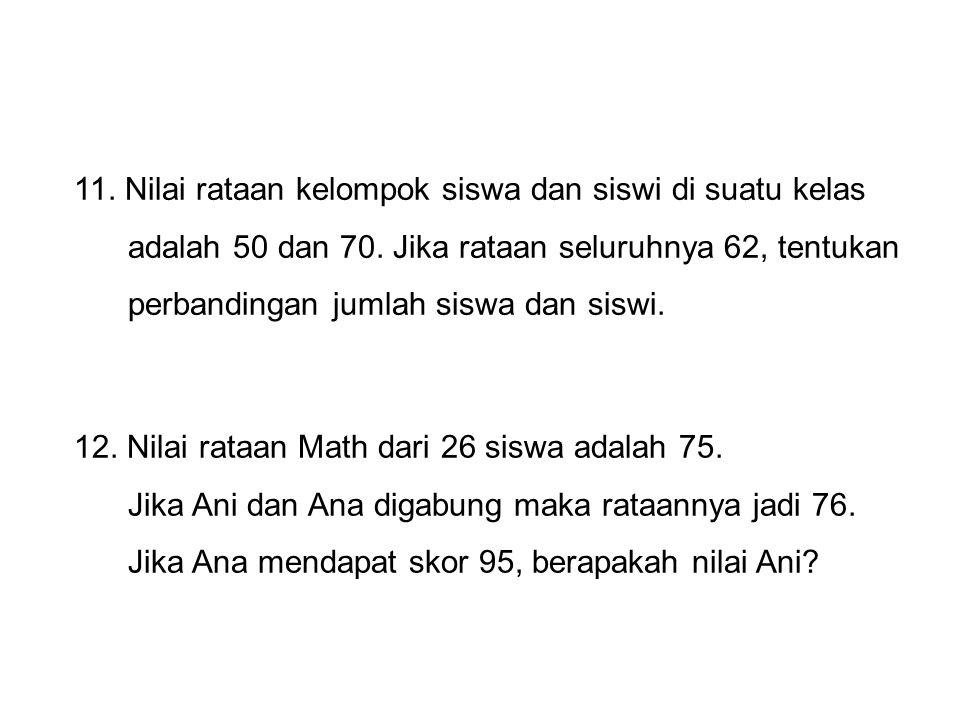 13.Dalam suatu kelas yang terdiri dari 22 siswa, rataan ulangannya 50 dan jangkauannya 40.