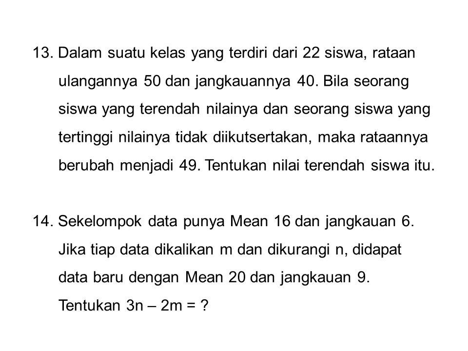 15.Suatu ujian diikuti oleh dua kelompok yang masing- masing terdiri dari 5 siswa.