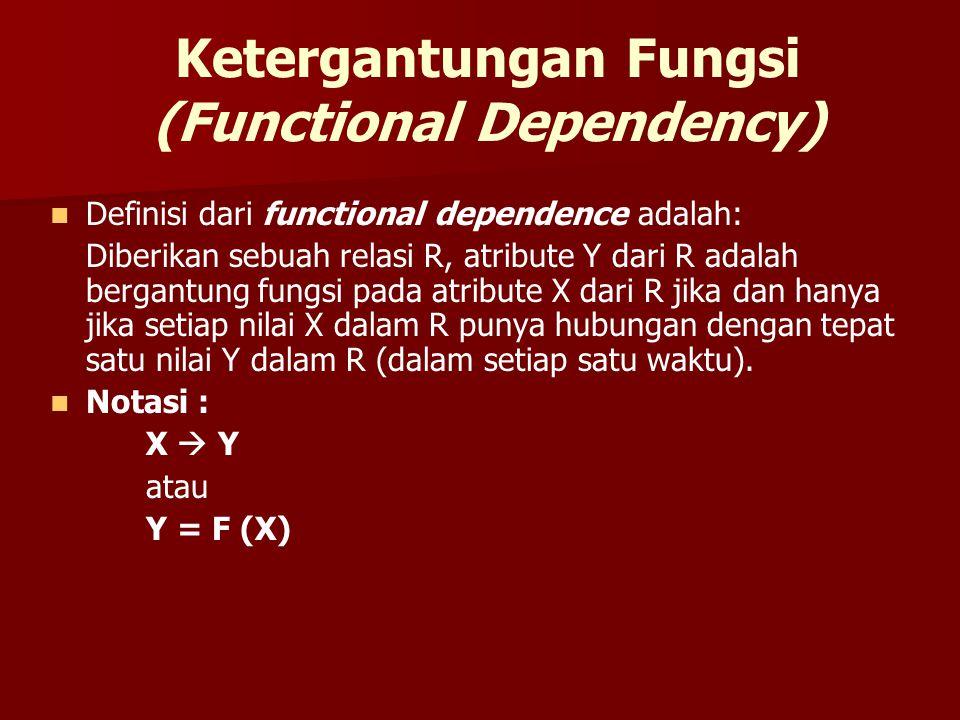 Ketergantungan Fungsi (Functional Dependency) Definisi dari functional dependence adalah: Diberikan sebuah relasi R, atribute Y dari R adalah bergantu