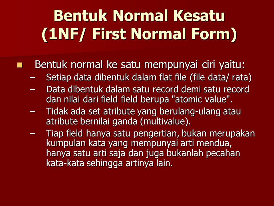 Bentuk Normal Kesatu (1NF/ First Normal Form) Bentuk normal ke satu mempunyai ciri yaitu: Bentuk normal ke satu mempunyai ciri yaitu: –Setiap data dib