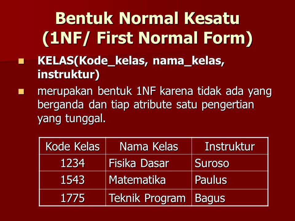 Bentuk Normal Kesatu (1NF/ First Normal Form) KELAS(Kode_kelas, nama_kelas, instruktur) KELAS(Kode_kelas, nama_kelas, instruktur) merupakan bentuk 1NF