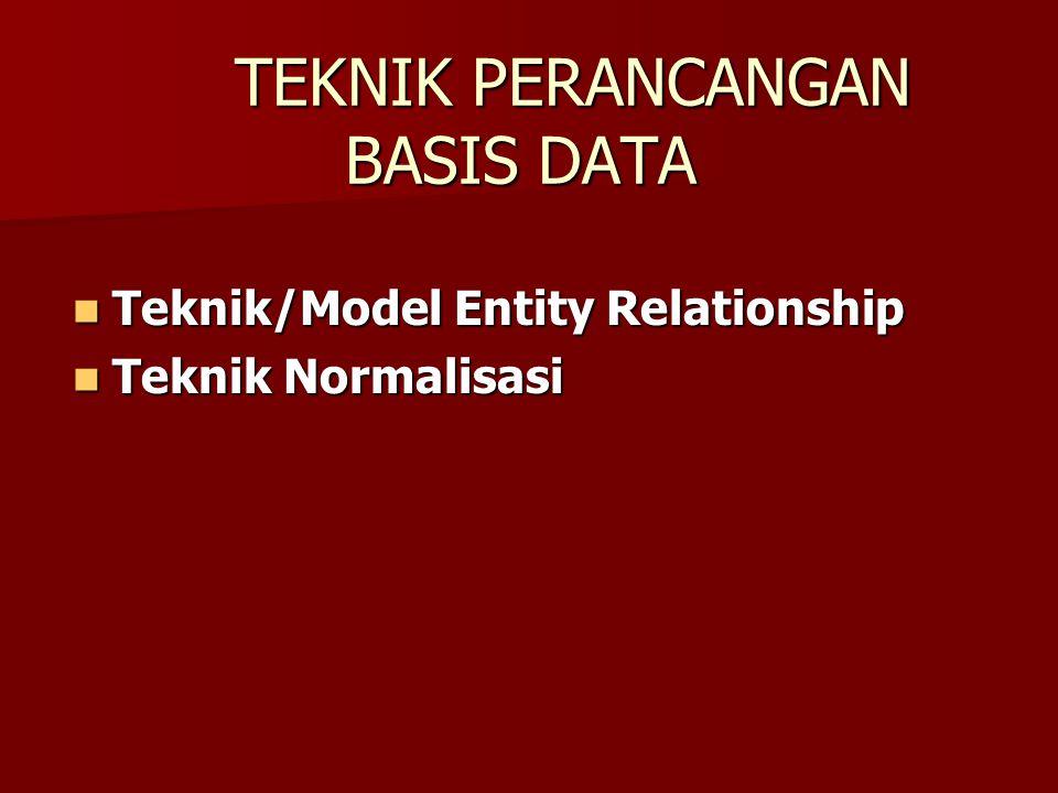 TEKNIK PERANCANGAN BASIS DATA Teknik/Model Entity Relationship Teknik/Model Entity Relationship Teknik Normalisasi Teknik Normalisasi