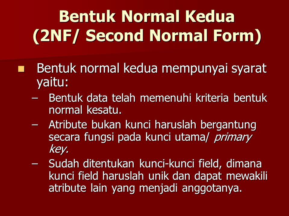 Bentuk Normal Kedua (2NF/ Second Normal Form) Bentuk normal kedua mempunyai syarat yaitu: Bentuk normal kedua mempunyai syarat yaitu: –Bentuk data tel