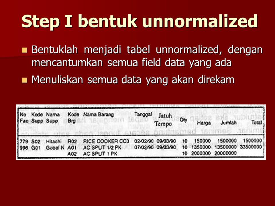 Step I bentuk unnormalized Bentuklah menjadi tabel unnormalized, dengan mencantumkan semua field data yang ada Bentuklah menjadi tabel unnormalized, d