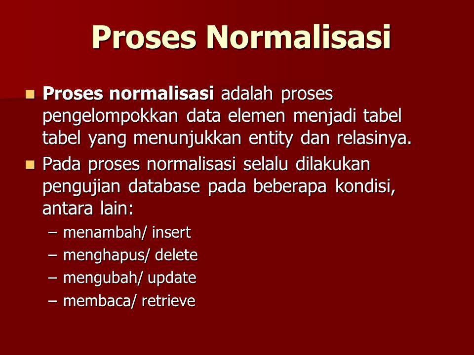 Proses Normalisasi Proses normalisasi adalah proses pengelompokkan data elemen menjadi tabel tabel yang menunjukkan entity dan relasinya. Proses norma