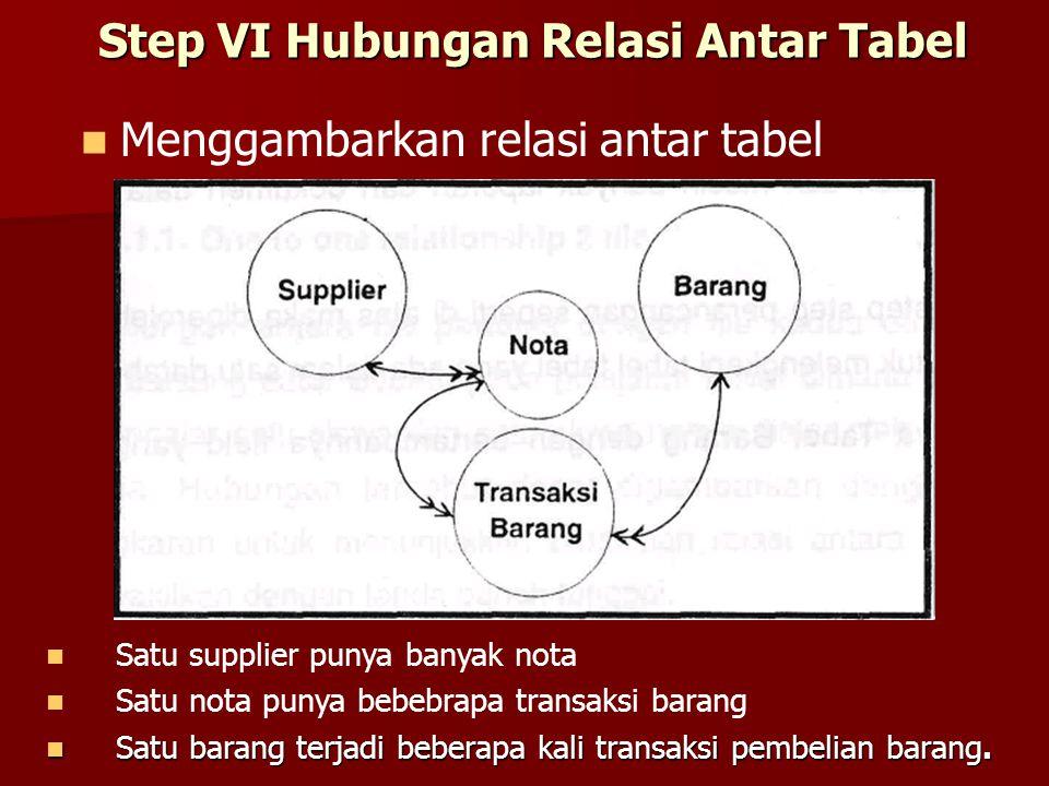 Step VI Hubungan Relasi Antar Tabel Menggambarkan relasi antar tabel Satu supplier punya banyak nota Satu nota punya bebebrapa transaksi barang Satu b