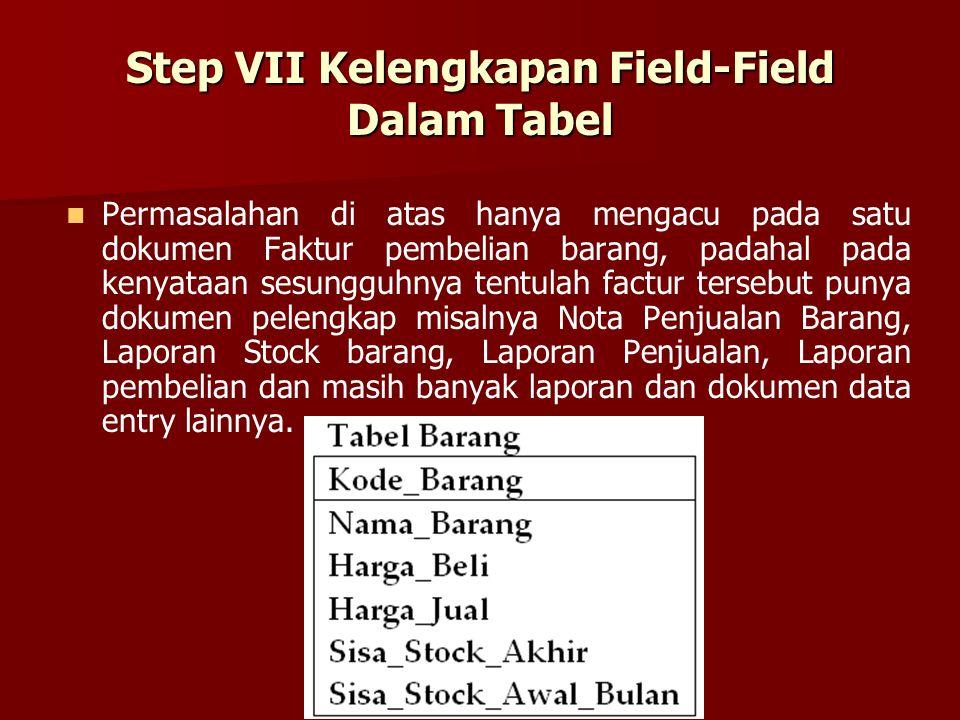 Step VII Kelengkapan Field-Field Dalam Tabel Permasalahan di atas hanya mengacu pada satu dokumen Faktur pembelian barang, padahal pada kenyataan sesu