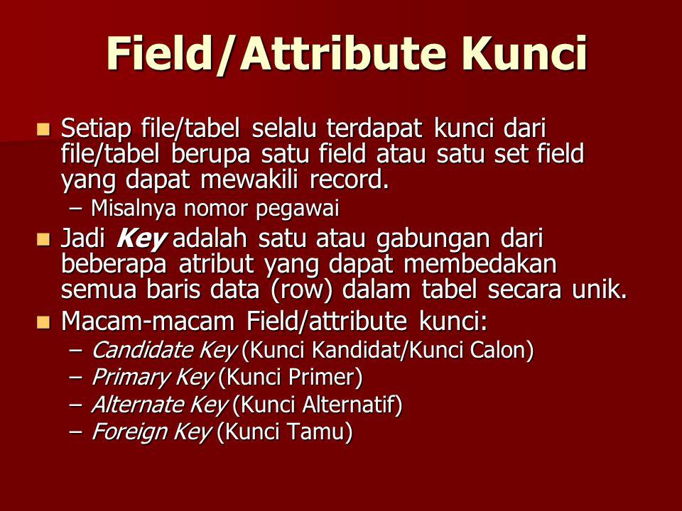 Field/Attribute Kunci Setiap file/tabel selalu terdapat kunci dari file/tabel berupa satu field atau satu set field yang dapat mewakili record. Setiap