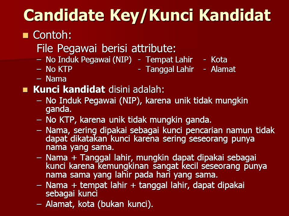 Candidate Key/Kunci Kandidat Contoh: Contoh: File Pegawai berisi attribute: –No Induk Pegawai (NIP) - Tempat Lahir - Kota –No KTP- Tanggal Lahir - Ala
