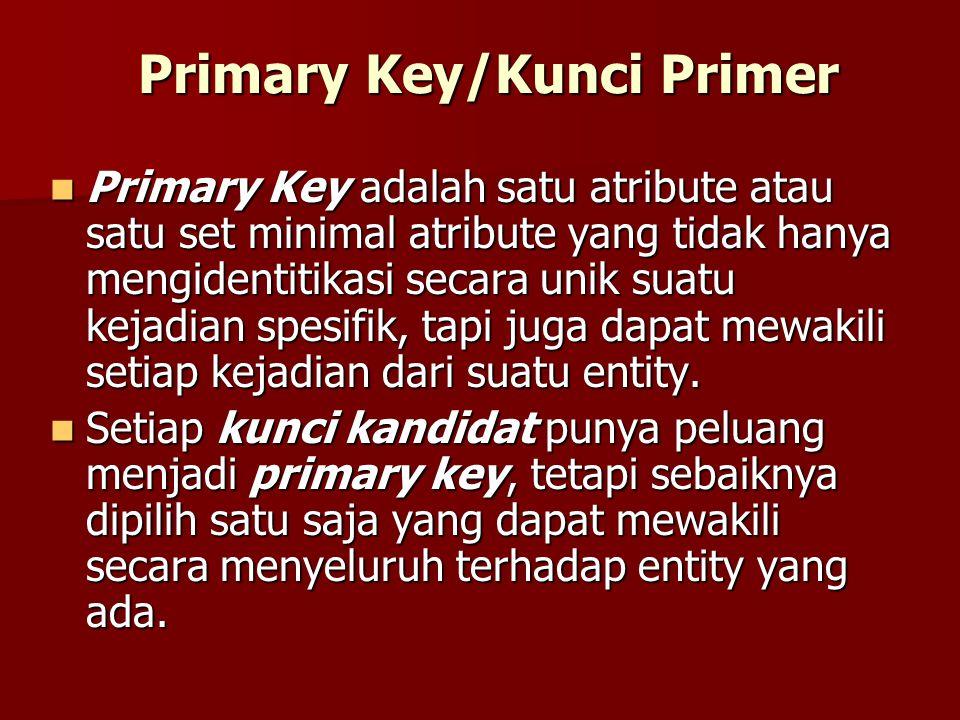 Primary Key/Kunci Primer Primary Key adalah satu atribute atau satu set minimal atribute yang tidak hanya mengidentitikasi secara unik suatu kejadian