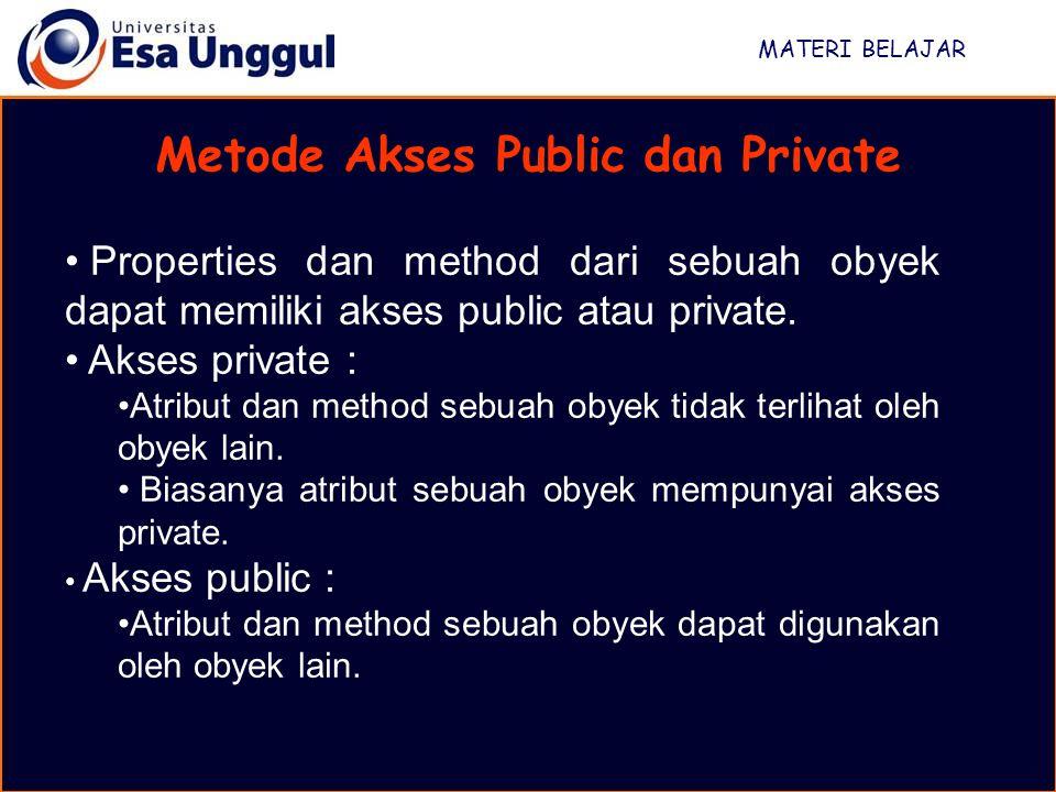 MATERI BELAJAR Metode Akses Public dan Private Properties dan method dari sebuah obyek dapat memiliki akses public atau private.