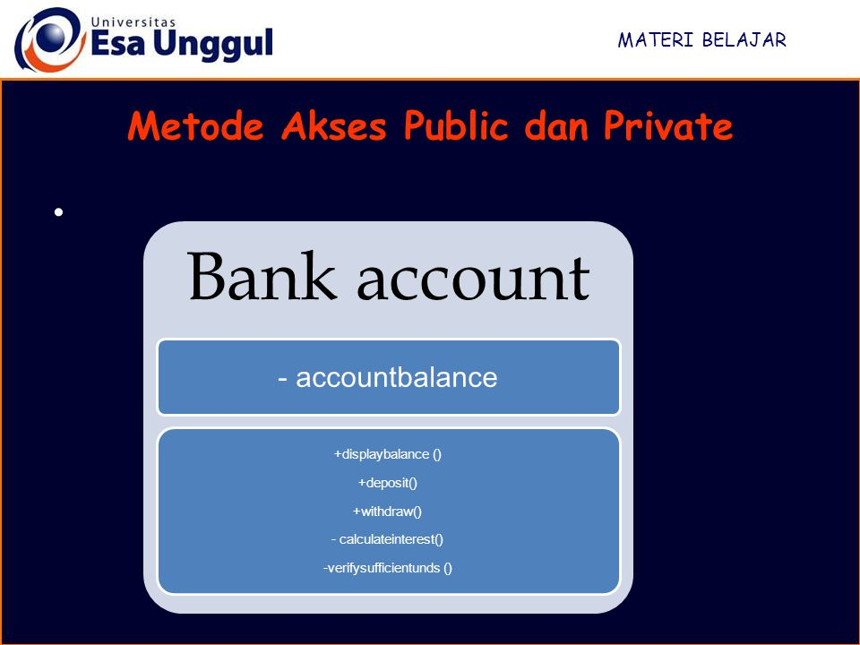 MATERI BELAJAR Metode Akses Public dan Private Bank account - accountbalance +displaybalance () +deposit() +withdraw() - calculateinterest() -verifysufficientunds ()