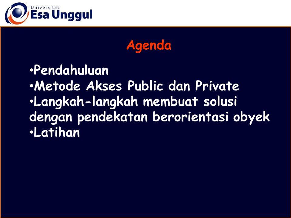 Agenda Pendahuluan Metode Akses Public dan Private Langkah-langkah membuat solusi dengan pendekatan berorientasi obyek Latihan
