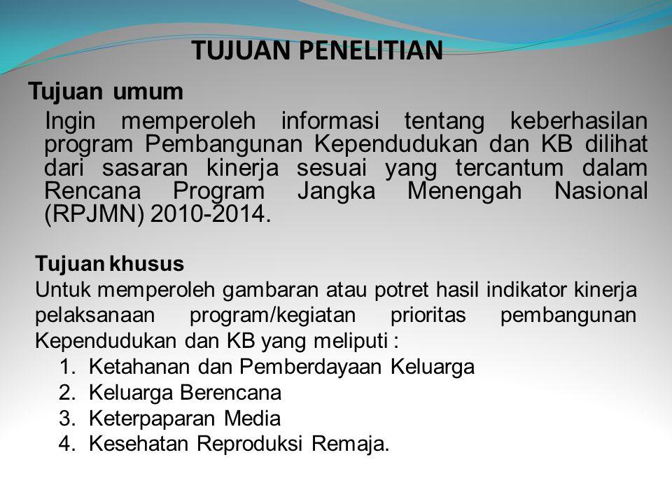 METODE PENELITIAN Cakupan Wilayah Survei berskala nasional mencakup 33 provinsi di Indonesia Responden - Keluarga : 25 responden keluarga per Blok Sensus, dipilih secara acak sistematik (sistematik random sampling).