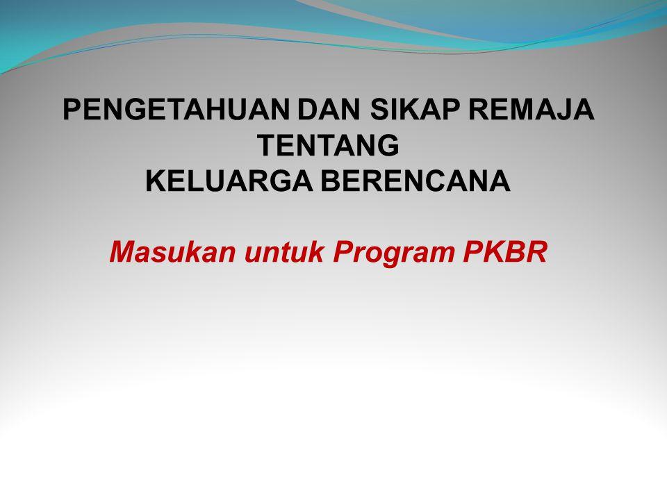 PENGETAHUAN DAN SIKAP REMAJA TENTANG KELUARGA BERENCANA Masukan untuk Program PKBR