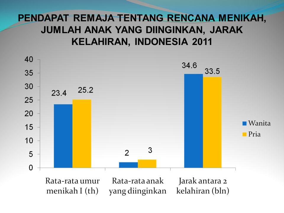 PENDAPAT REMAJA TENTANG RENCANA MENIKAH, JUMLAH ANAK YANG DIINGINKAN, JARAK KELAHIRAN, INDONESIA 2011