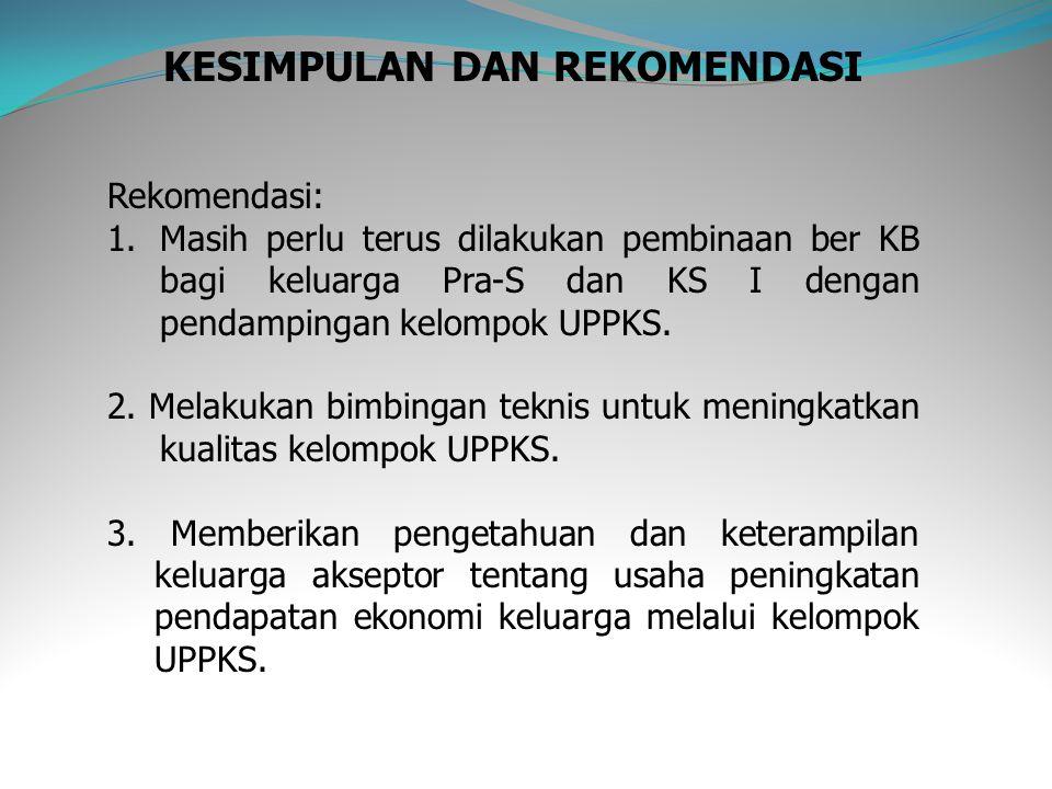 KESIMPULAN DAN REKOMENDASI Rekomendasi: 1.Masih perlu terus dilakukan pembinaan ber KB bagi keluarga Pra-S dan KS I dengan pendampingan kelompok UPPKS