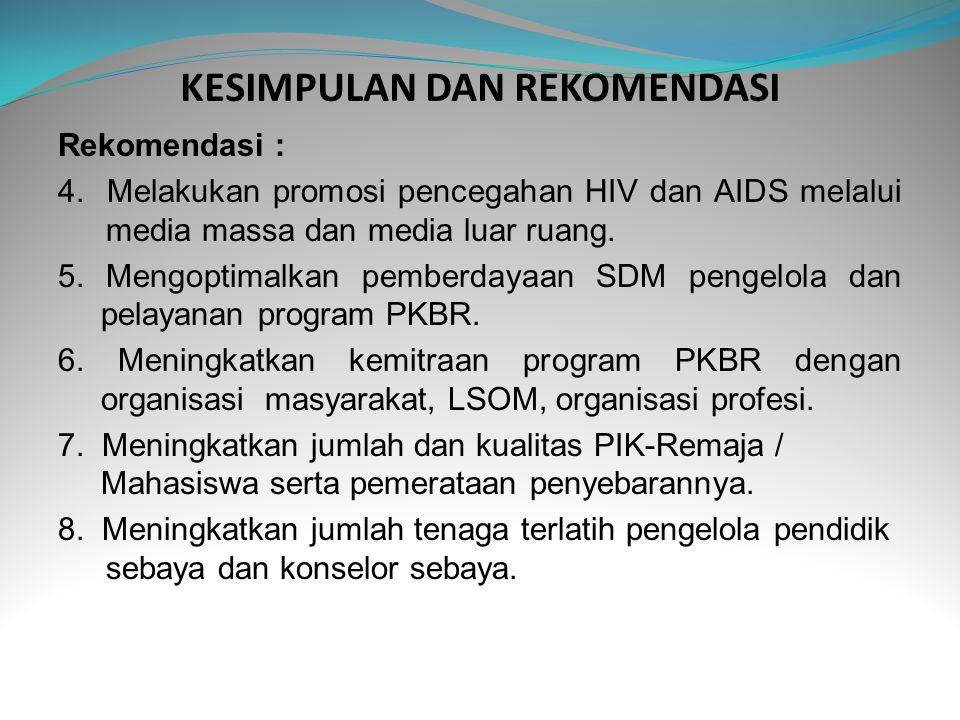 KESIMPULAN DAN REKOMENDASI Rekomendasi : 4. Melakukan promosi pencegahan HIV dan AIDS melalui media massa dan media luar ruang. 5. Mengoptimalkan pemb