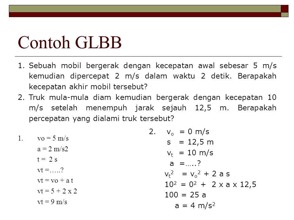 Contoh GLBB 1.Sebuah mobil bergerak dengan kecepatan awal sebesar 5 m/s kemudian dipercepat 2 m/s dalam waktu 2 detik. Berapakah kecepatan akhir mobil