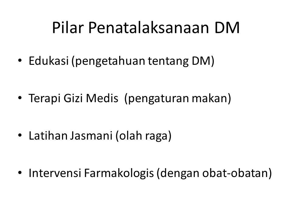 Pilar Penatalaksanaan DM Edukasi (pengetahuan tentang DM) Terapi Gizi Medis (pengaturan makan) Latihan Jasmani (olah raga) Intervensi Farmakologis (dengan obat-obatan)